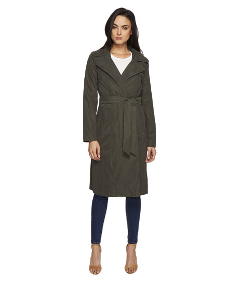 Ellen Tracy Microfiber Hooded Wrap Trench