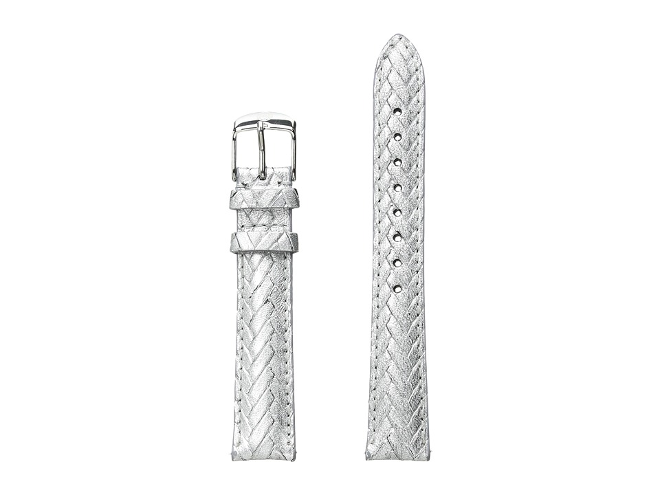 Michele - 16mm Metallic Braided Leather Strap Silver