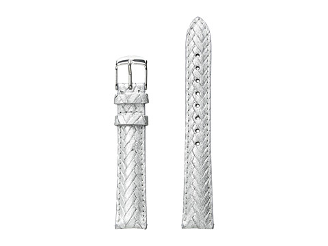 Michele 16mm Metallic Braided Leather Strap Silver - Silver