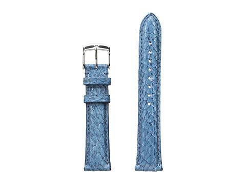 Michele 18mm Seamist Fish Skin Strap Blue - Blue