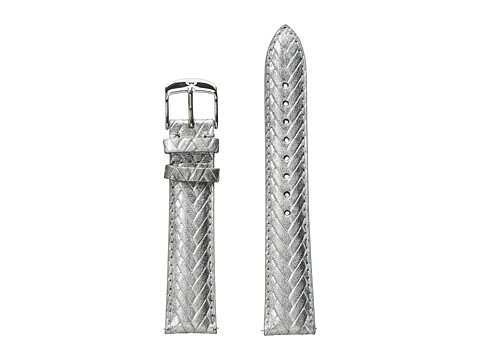 Michele 18mm Metallic Braided Leather Strap Sliver - Silver