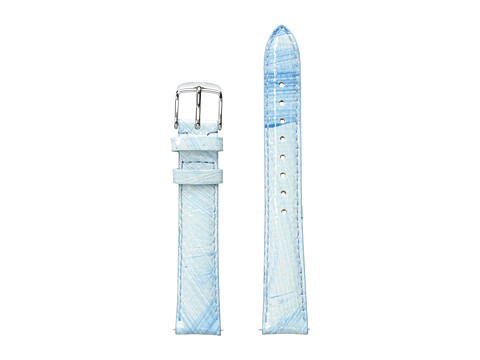 Michele 16mm Painted Snakeskin Strap Blue/White - Blue/White