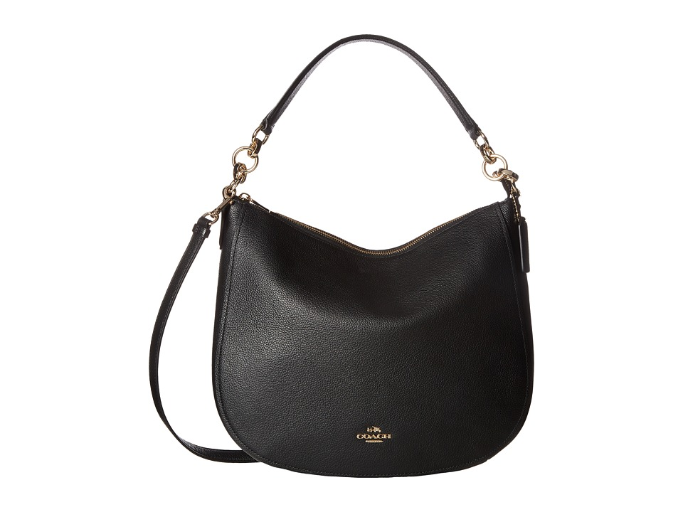 COACH - Polished Pebbled Leather Chelsea 32 Hobo (LI/Black) Hobo Handbags