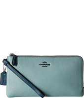 COACH - Color Block Double Zip Wallet