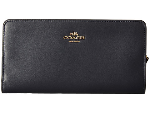 COACH Smooth Leather Skinny Wallet - LI/Navy