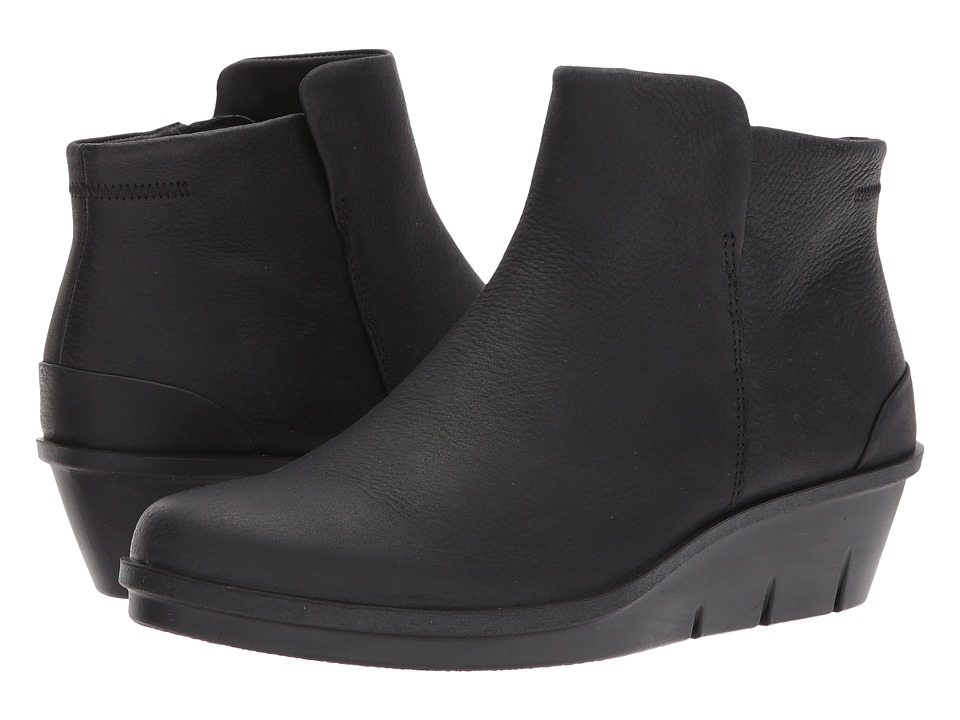 ECCO Skyler Wedge Bootie (Black Cow Nubuck) Women