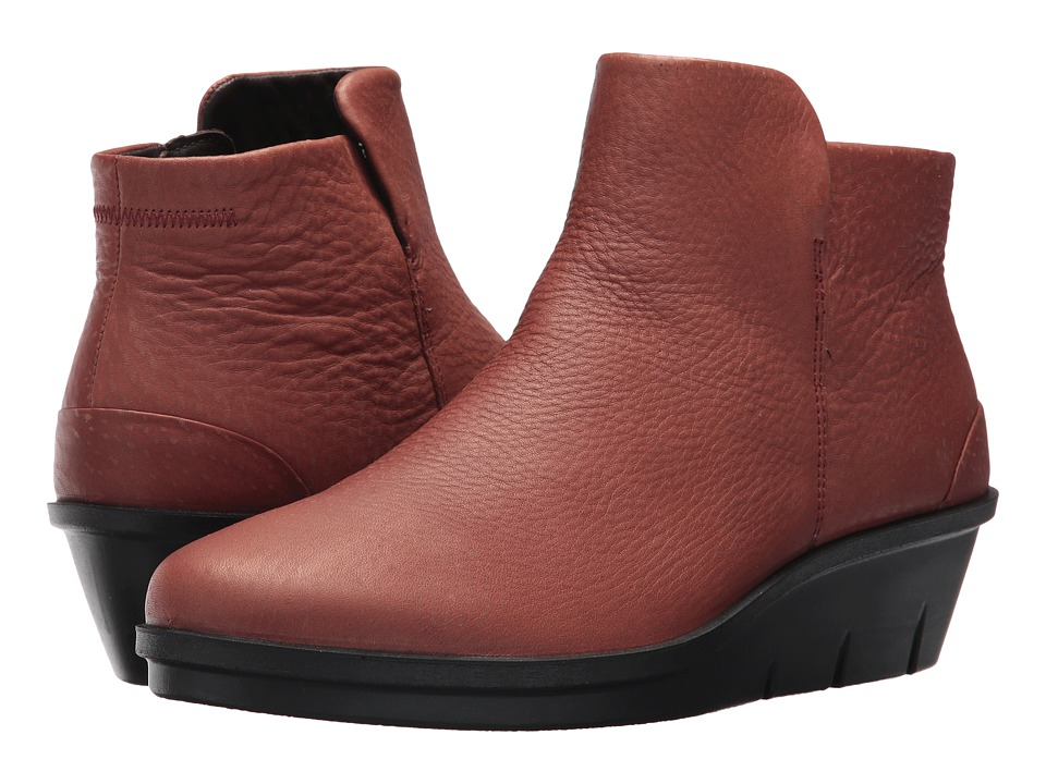 ECCO Skyler Wedge Bootie (Brandy Cow Nubuck) Women