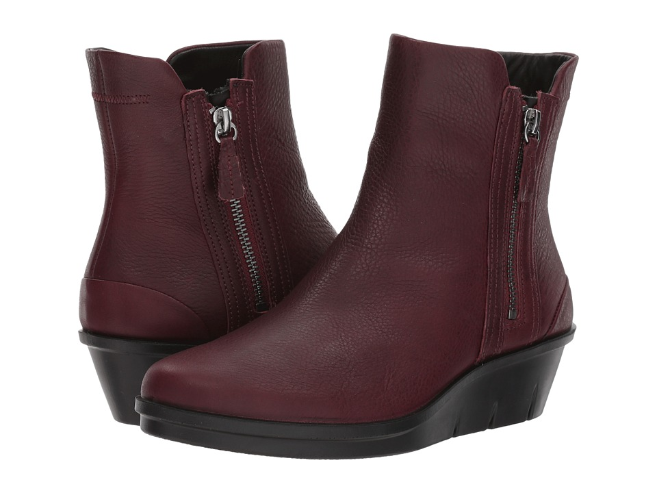 ECCO Skyler Wedge Boot (Bordeaux Cow Leather) Women