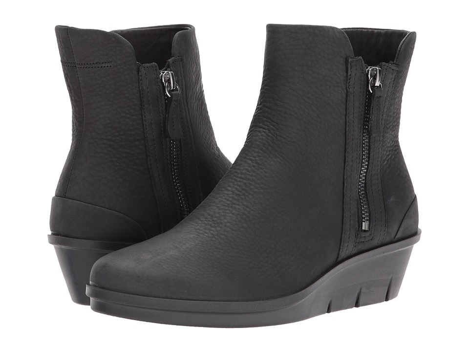 ECCO Skyler Wedge Boot (Black Cow Bubuck) Women