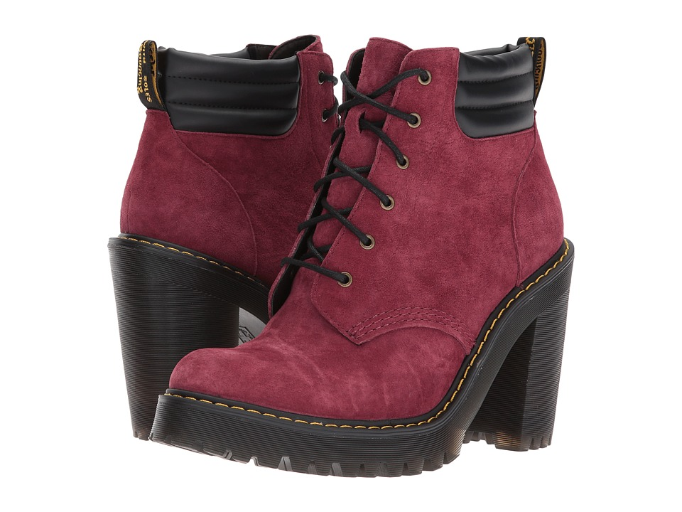 Dr. Martens Persephone 6-Eye Padded Collar Boot (Wine Soft Buck/Black Pu Srs) Women