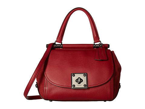 COACH Mixed Leather Drifter Top-Handle - DK/Cherry