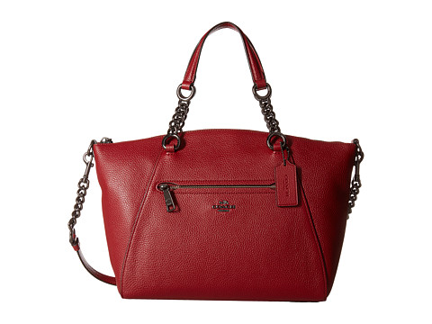 COACH Polished Pebbled Leather Chain Prairie - DK/Cherry