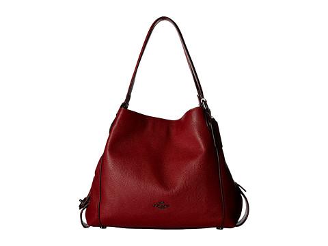COACH Pebbled Leather Edie 31 Shoulder Bag - DK/Cherry