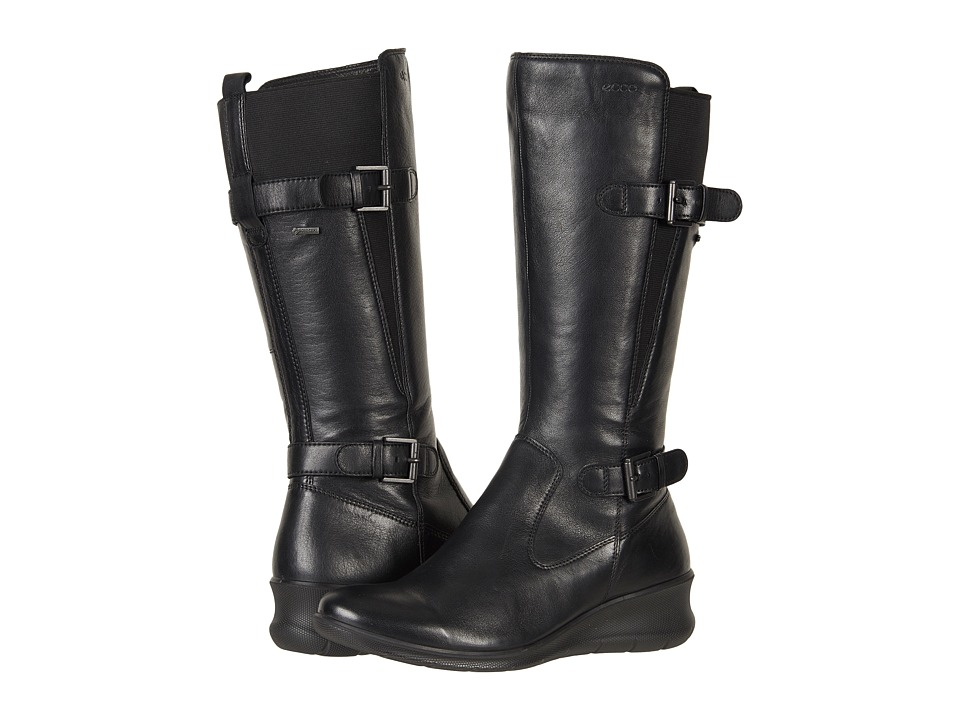 Ecco Babett Wedge GTX Boot (Black Cow Leather) Women's Boots