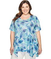 Nally & Millie - Plus Size Feather Print Tunic