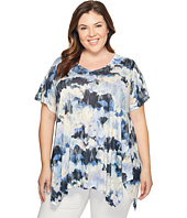 Nally & Millie - Plus Size Blue Camo Print Tunic