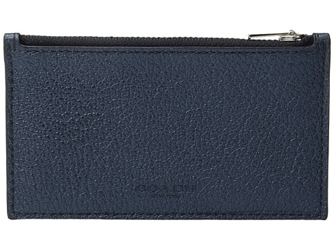 COACH Metallic Zip Card - Blue Metallic