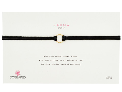 Dogeared Karma Black Leather Choker Necklace - Gold Dipped