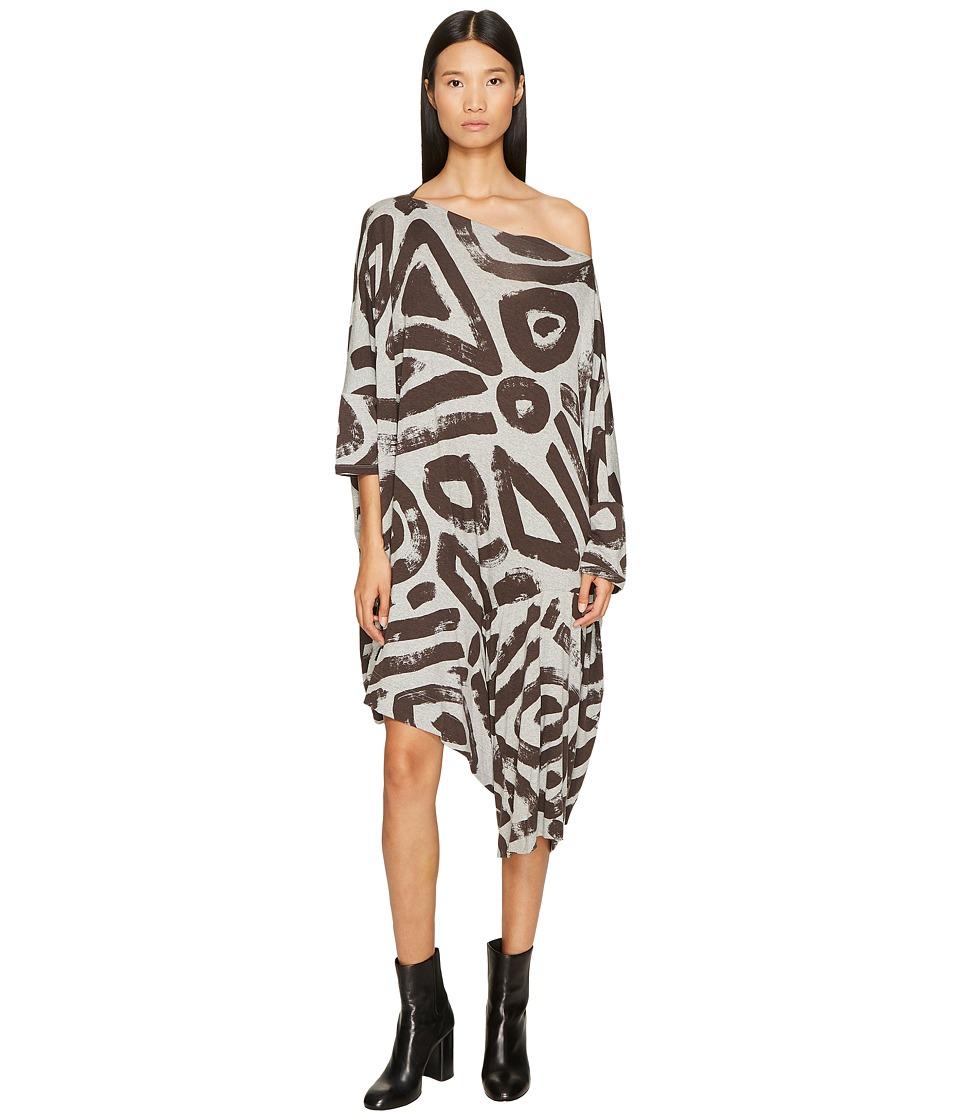 Vivienne Westwood Patron Printed Dolman Sleeve Dress (Grey) Women