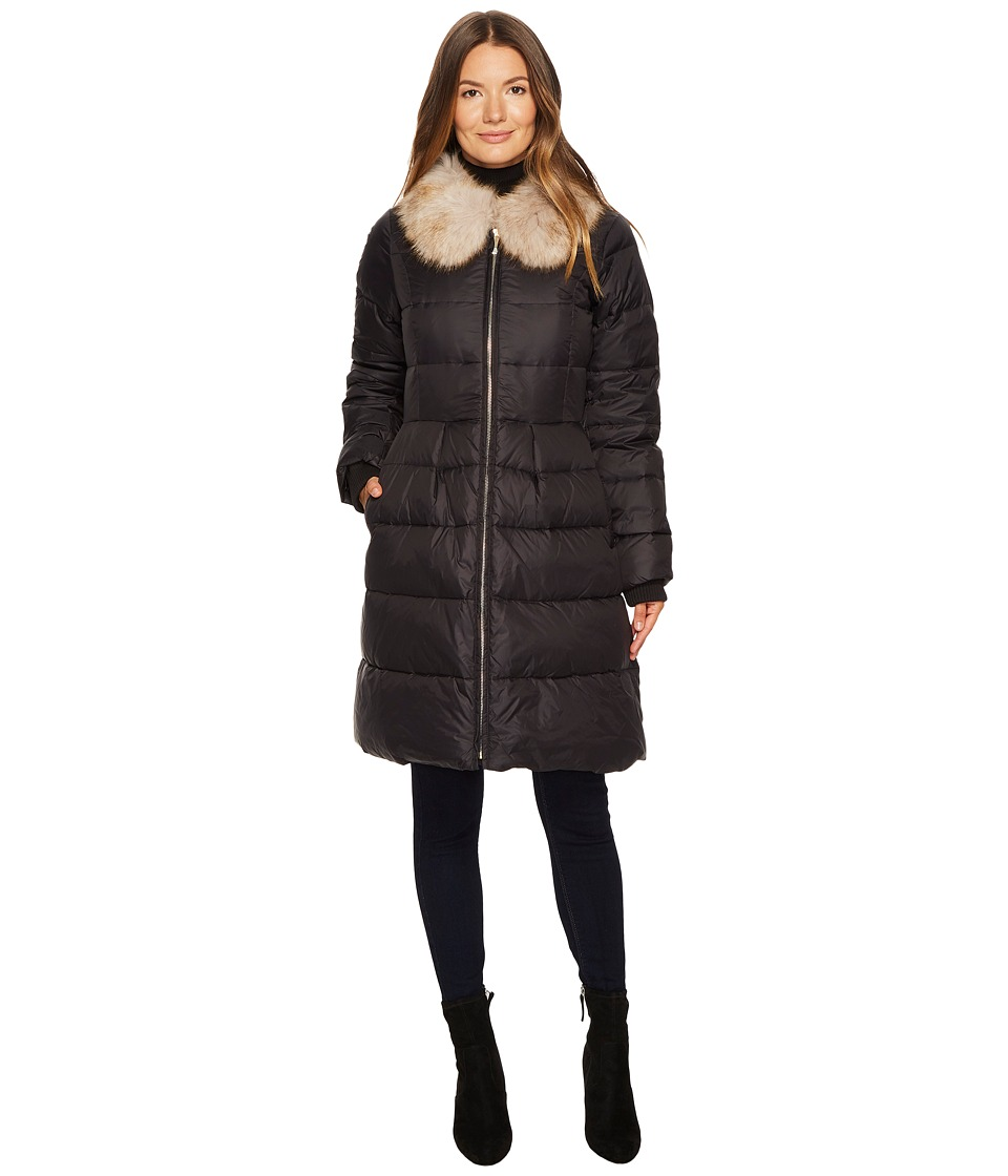 Kate Spade New York - Soft Down Faux Fox Fit and Flare Ja...