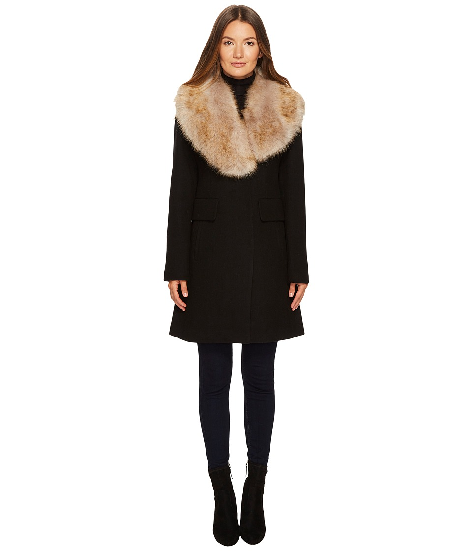 Kate Spade New York - Wool Twill Faux Fox Collar Peacoat ...