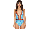 All in the Mix Plunge Halter One-Piece