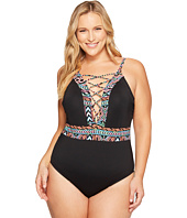 La Blanca - Plus Size La Azteca Hi-Neck Lace-Up One-Piece
