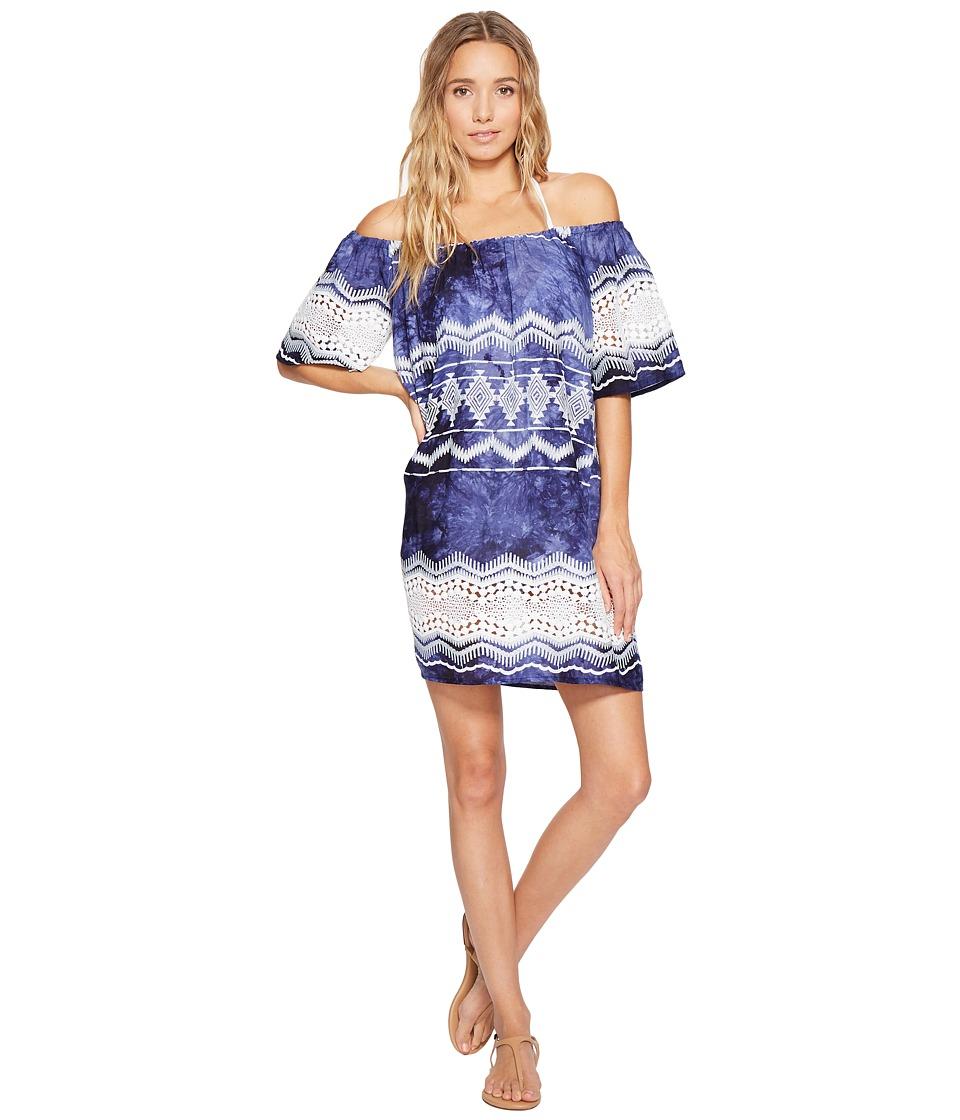 La Blanca - Denim Lace Off The Shoulder Dress Cover