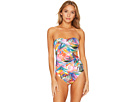LAUREN Ralph Lauren Tropic Palm Twist Bandeau Underwire Mio One-Piece Slimming Fit w/ Molded Cup