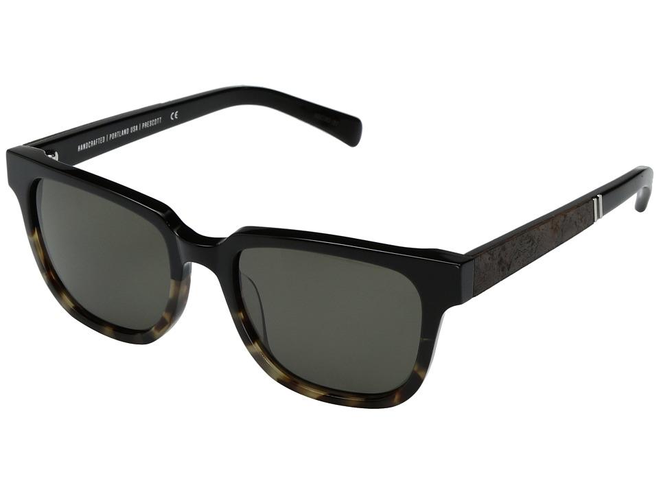 Shwood Prescott Acetate Wood (Black Olive/Elm Burl/G15) Athletic Performance Sport Sunglasses