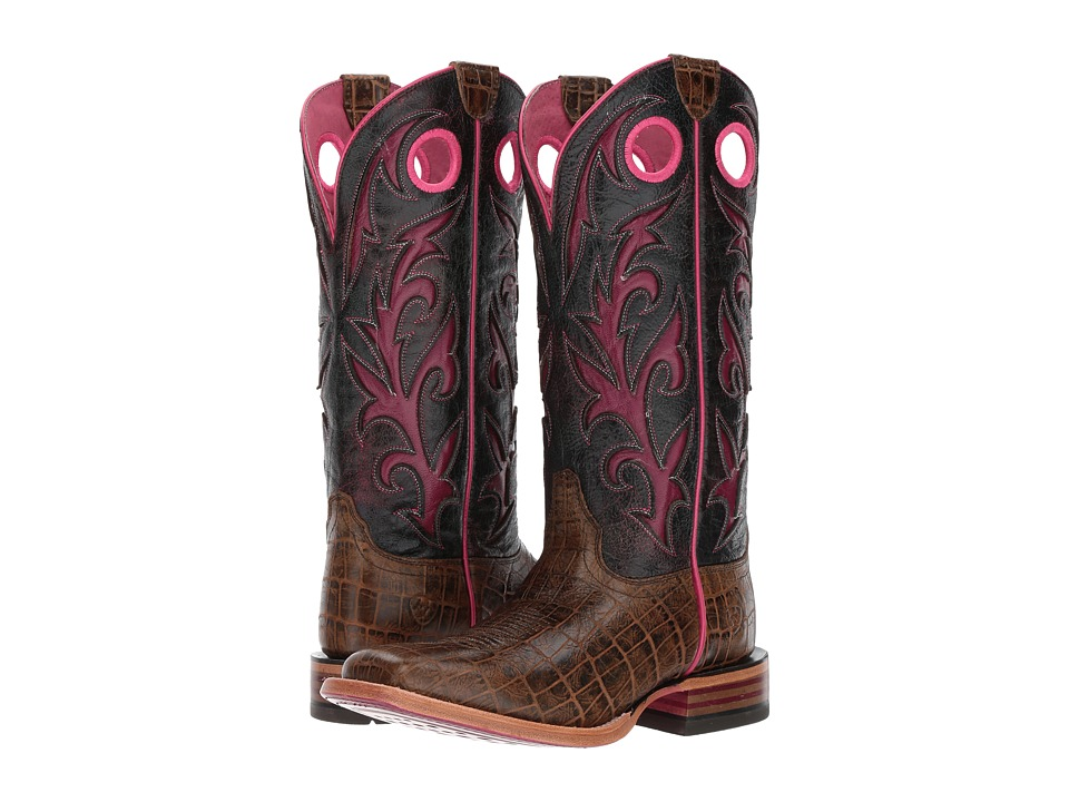 Ariat Chute Out (Antique Tan Croc Print/Crackled Teagenta) Cowboy Boots