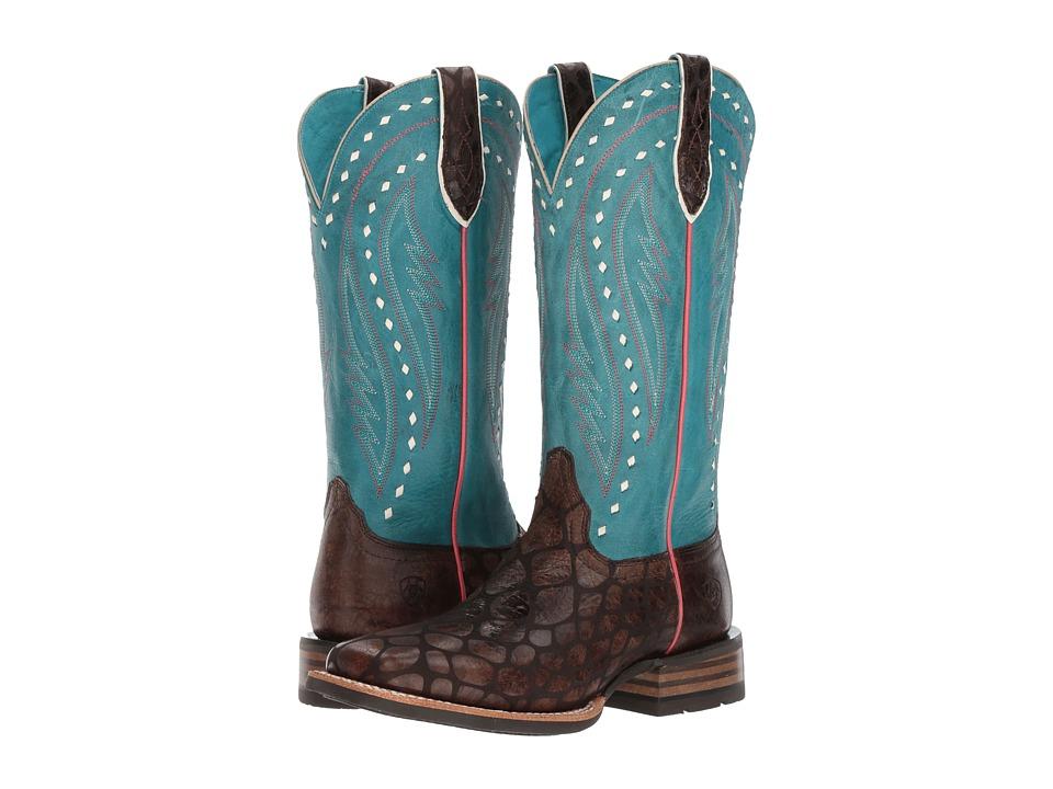 Ariat Callahan (Chocolate Anaconda Print/Washed Teal) Cowboy Boots