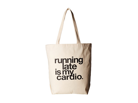 Dogeared Running Late Is My Cardio Tote - Black/Canvas