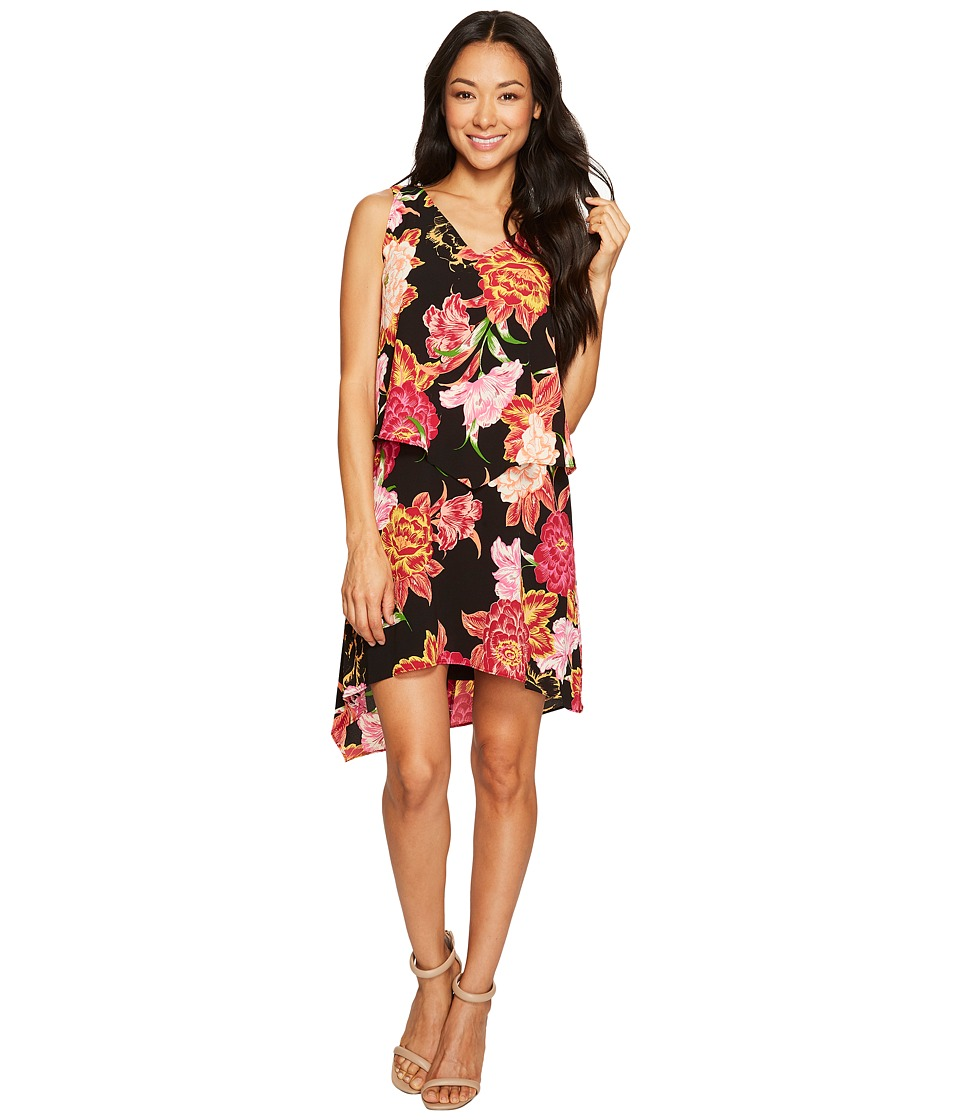 Tahari by ASL Petite Petite Tiered Floral Chiffon Shift Dress (Black/Hibiscus/White) Women