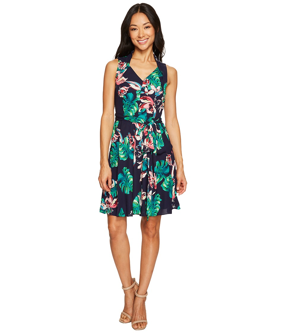 Tahari by ASL Petite - Petite Palm Print Tie-Waist A-Line Dress