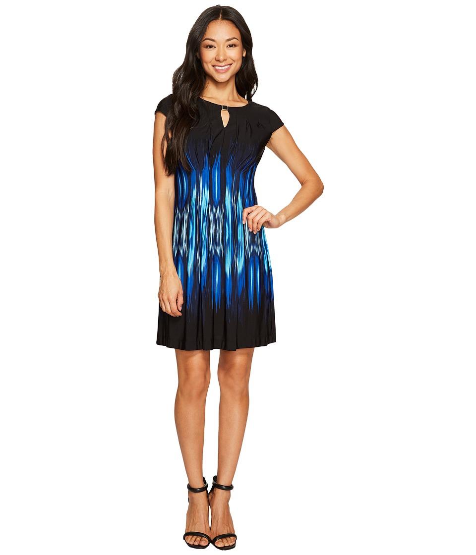 Tahari by ASL Petite Petite Jersey Flame Print A-Line Dress (Black/Aqua/Royal) Women