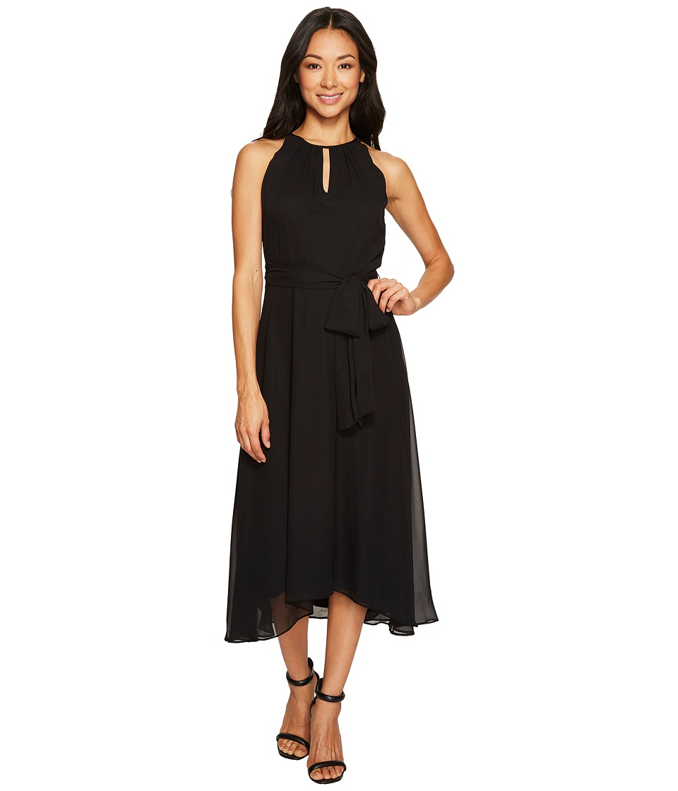 Tahari by ASL Petite - Petite Chiffon Tea-Length Keyhole Neck Dress