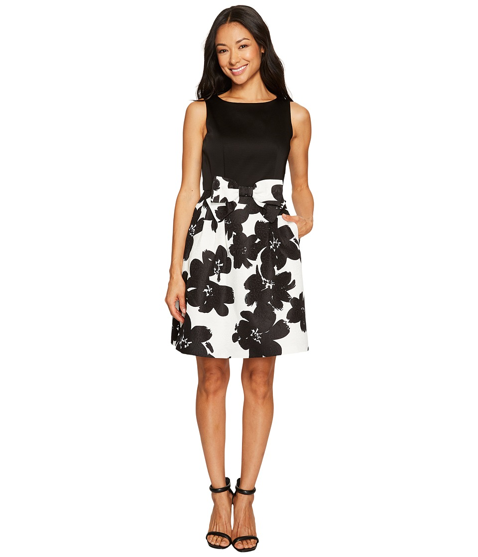 Tahari by ASL Petite Petite Jacquard Skirt Fit and Flare Dress (Black/Ivory) Women