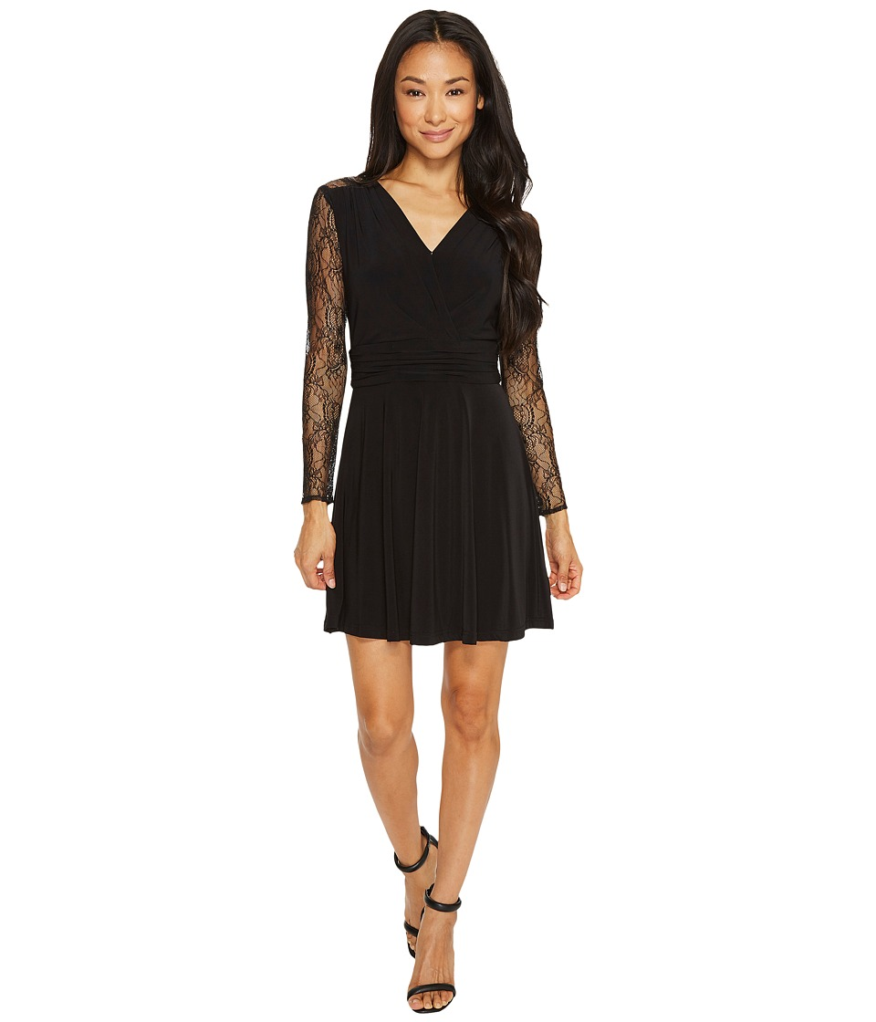 Tahari by ASL Petite Petite Faux-Wrap Dress with Lace Sleeves (Black) Women