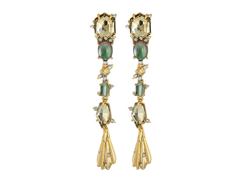 Alexis Bittar Crystal Studded Dangling Stone Post Earrings - 10k Gold w/ Rhodium