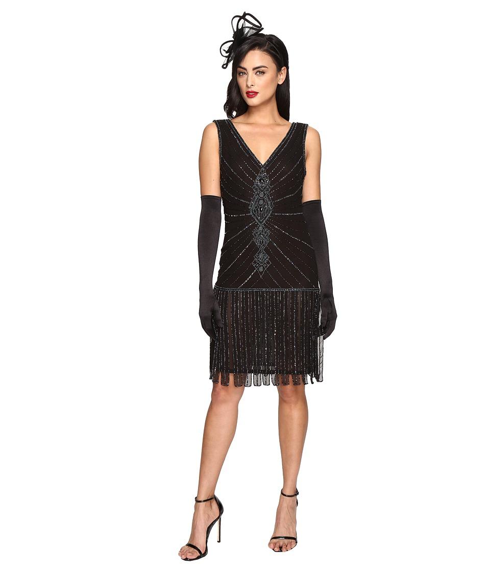 Unique Vintage 1920s Deco Beaded Fringe Aelita Flapper Dress (Black) Women