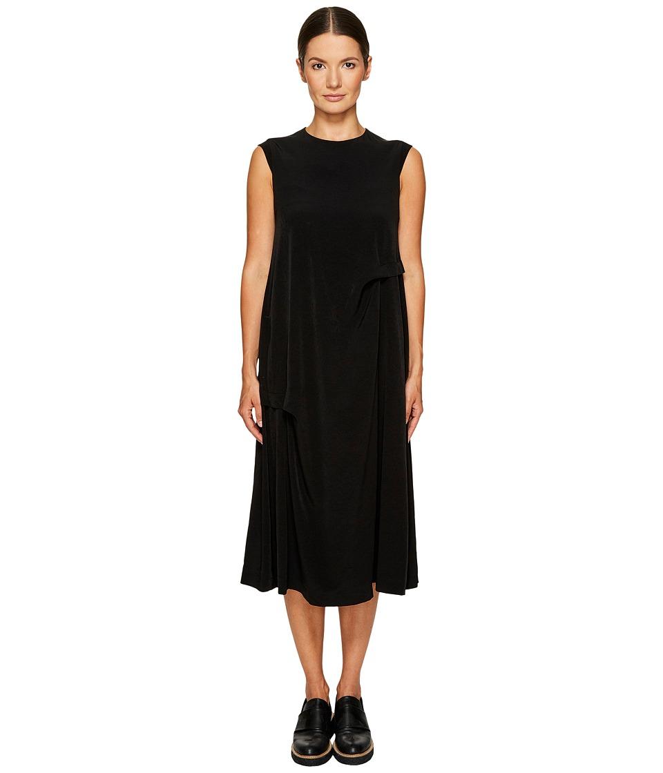 Ys by Yohji Yamamoto - Side Tuck Sleeveless Dress (Black) Womens Dress