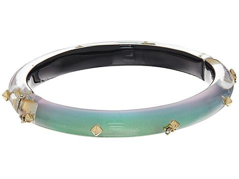 Alexis Bittar Gold Studded Hinge Bracelet - Clear Green Opalescent