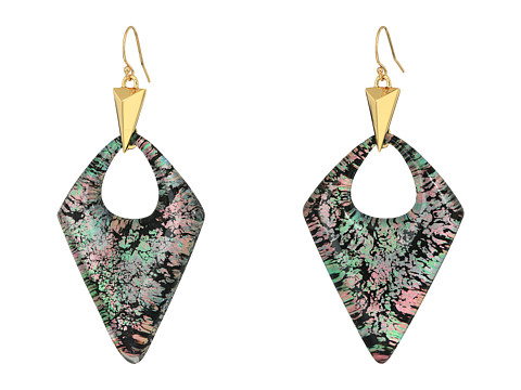 Alexis Bittar Pointed Pyramid Drop Earrings - Abalone Pattern