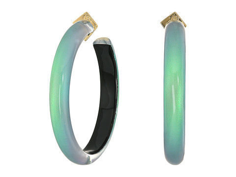 Alexis Bittar Large Hoop Earrings - Clear Green Opalescent