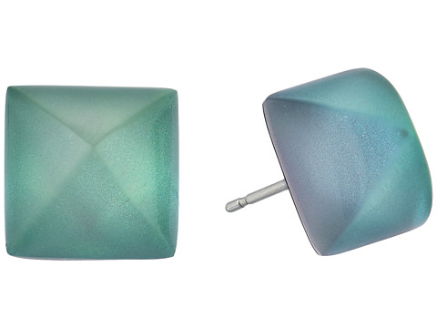 Alexis Bittar Pyramid Post Earrings - Clear Green Opalescent