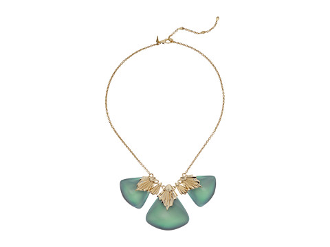 Alexis Bittar Crystal Studded Pleated Bib Necklace - Clear Green Opalescent