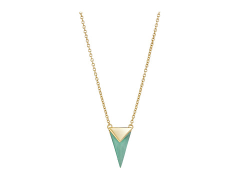 Alexis Bittar Faceted Pyramid Pendant Necklace - Clear Green Opalescent