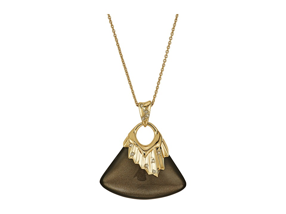 Alexis Bittar - Crystal Studded Pleated Pendant Necklace (Ash) Necklace