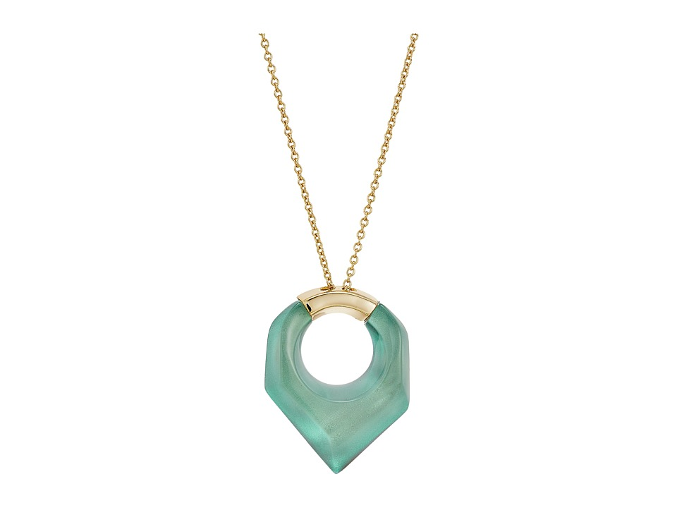 Alexis Bittar - Faceted Pentagon Pendant Necklace (Clear Green Opalescent) Necklace